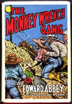 A peel-and-stick illustration for The Monkey Wrench Gang, done by R